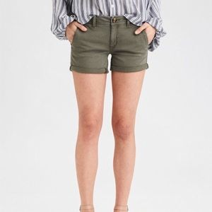 American Eagle Stretch Shortie Shorts Olive 2